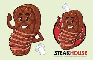 conception de mascotte de steak pour steakhouse vecteur