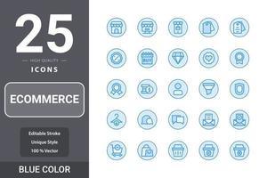 pack d'icônes de commerce électronique pour la conception de votre site Web, logo, application, interface utilisateur. conception de couleur bleue icône de commerce électronique vecteur