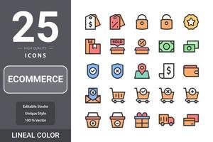 pack d'icônes de commerce électronique pour la conception de votre site Web, logo, application, interface utilisateur. conception de couleur linéaire icône de commerce électronique vecteur