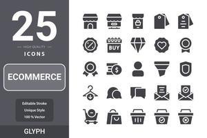 pack d'icônes de commerce électronique pour la conception de votre site Web, logo, application, interface utilisateur. conception de glyphe icône de commerce électronique vecteur