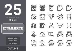 pack d'icônes de commerce électronique pour la conception de votre site Web, logo, application, interface utilisateur. conception de contour dicône de commerce électronique vecteur