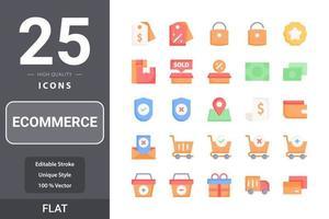 pack d'icônes de commerce électronique pour la conception de votre site Web, logo, application, interface utilisateur. design plat d & # 39; icône de commerce électronique vecteur