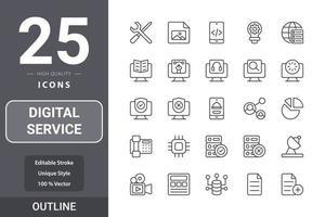 pack d'icônes de service numérique pour la conception de votre site Web, logo, application, interface utilisateur vecteur