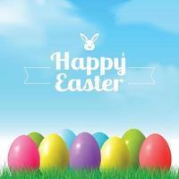 Résumé fond de bokeh de Pâques avec des oeufs colorés couché sur l'herbe contre le fond de ciel