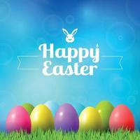 Résumé fond de bokeh de Pâques avec des oeufs colorés couché sur l'herbe contre le fond de ciel vecteur