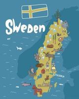 illustration dessinée à la main de la carte de la Suède avec des attractions touristiques. concept de voyage. Suède stockholm scandinavie objet repère vecteur doodle carte illustrations définies.