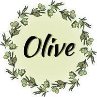 couronne d'olivier avec une inscription. cadre rond de vecteur. vecteur