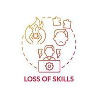 icône de concept de perte de compétences vecteur