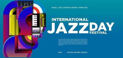 conception de bannière de la journée internationale du jazz coloré de vecteur