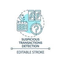 icône de concept de détection de transactions suspectes vecteur