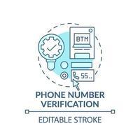 icône de concept de vérification de numéro de téléphone vecteur