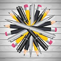 Crayon Circulaire Et Stylo vecteur