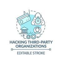 Icône de concept de piratage des organisations tierces vecteur