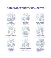 jeu d & # 39; icônes de concept de sécurité bancaire vecteur