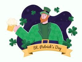 le jour de la st patrick avec leprechaun avec de la bière. illustration plate de joyeux saint patrick avec des feuilles de trèfle. peut être utilisé pour carte de voeux, invitation, bannière, affiche, flyer, web. vecteur