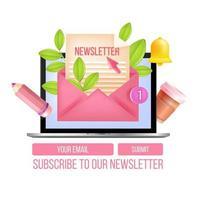 formulaire web de vecteur d'abonnement à la newsletter, modèle de popup, ordinateur portable, enveloppe, lettre, cloche de notification. marketing Internet par e-mail, conception d'inscription de site Web. boîte aux lettres numérique en ligne, abonnement à la newsletter