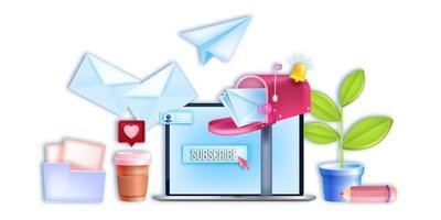 entreprise numérique de courrier électronique vectoriel, bannière de marketing Internet, écran d'ordinateur portable, bouton d'inscription, boîte aux lettres ouverte. réseau web de médias sociaux, concept de communication en ligne. marketing par e-mail, abonnement à la newsletter vecteur