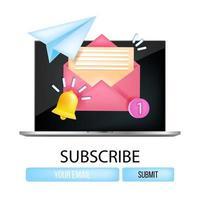 concept de vecteur d'abonnement à la newsletter par e-mail, écran d'ordinateur portable, cloche de notification, avion en papier, numéro un. illustration de marketing par courrier commercial en ligne, enveloppe, boutons. logo d'inscription à la newsletter