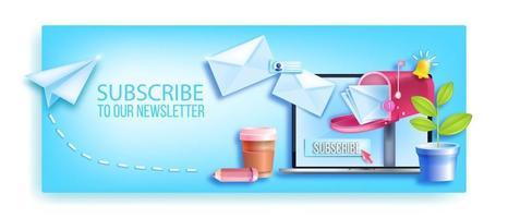 Abonnez-vous à la bannière de vecteur de newsletter, écran d'ordinateur portable, lieu de travail, boîte aux lettres, enveloppes, cloche de notification. courrier en ligne, fond de marketing Internet, avion. s'abonner au concept de newsletter