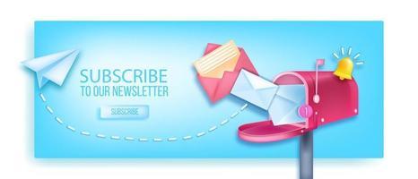 abonnez-vous à notre bannière 3d de vecteur de newsletter, boîte aux lettres ouverte, avion en papier, cloche de notification, enveloppes. marketing Internet, concept de page Web d'entreprise en ligne, bouton. abonnez-vous à la newsletter