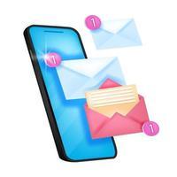 icône de notification de nouveau message de vecteur, alerte par courrier électronique, illustration de notification de chat avec écran du smartphone. concept de web de rappel mobile isolé, enveloppes, numéro un. logo de notification push de message en ligne vecteur