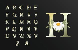 bel alphabet de luxe pour mariage avec fleur vecteur