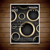 Modèle de conception de brochure de trou circulaire noir et or vecteur