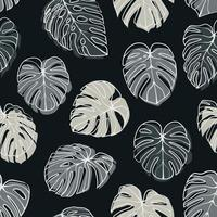 Modèle sans couture de feuille de monstera deliciosa. parfait pour le textile, le tissu, le fond, l'impression vecteur