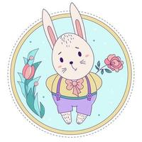 lapin mignon. garçon de lapin de Pâques en pantalon sur bretelles avec une rose sur un fond floral décoratif. vecteur. pour cartes de voeux avec Pâques et anniversaire, design et décoration, impression et décoration vecteur