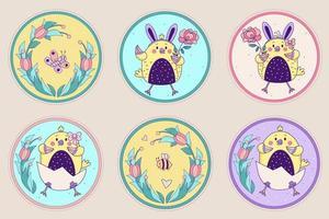un ensemble de personnages mignons - des poulets, un papillon et une abeille. poulets de Pâques fille et garçon dans un œuf et avec une rose sur un fond floral décoratif rond. illustration vectorielle. carte de joyeuses pâques vecteur