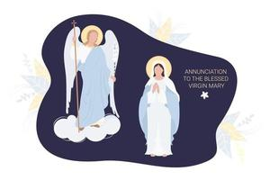 annonce à la bienheureuse Vierge Marie. la vierge marie dans une maforia bleue prie docilement et l'archange Gabriel avec un lis. vecteur. pour les communautés chrétiennes et catholiques, carte postale fête religieuse vecteur