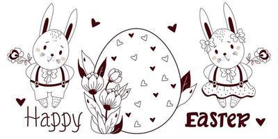 joyeuses pâques - carte avec des lapins de Pâques mignons. garçon et fille avec un gros oeuf de Pâques et des fleurs. illustration vectorielle, contour. pour la conception, la décoration, les cartes de vœux et l'impression, l'inscription, les félicitations vecteur