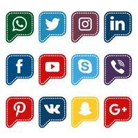 Collection de médias sociaux de discours arrondi vecteur