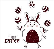 carte postale décorative joyeuses pâques. poulet de Pâques. un oiseau mignon avec des oreilles de lapin sur sa tête et avec des oeufs de Pâques. vecteur. ligne, contour. pour la conception, la décoration, l'impression, la décoration, les cartes de vœux, les bannières vecteur