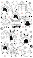 ensemble de caractères de Pâques. mignons poussins de Pâques - issus d'un œuf, une fille de poulet, un garçon avec des œufs de Pâques et des ballons, une boîte et un cadeau. vecteur, ligne. pour les cartes joyeuses pâques, design, décor, impression