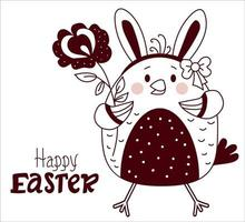joyeuses Pâques. fille de poussin de Pâques avec des oreilles de lapin et un arc sur la tête et avec une fleur. vecteur. ligne, contour. pour la conception, la décoration, l'impression, la décoration, les cartes de voeux de vacances, les bannières vecteur