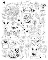 joyeuses Pâques. ensemble de griffonnages de Pâques - panier avec oeufs de Pâques, gâteaux de Pâques, cupcake, lapin, fleurs et feuilles, décor de vacances. vecteur. ligne noire, contour. joli décor pour la conception, l'impression et les cartes postales vecteur