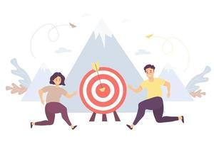 concept d'entreprise homme et une femme courent vers leur objectif, mouvement et motivation au sommet du succès. vecteur. illustration travail de partenaire, objectif et réalisation, succès commercial et marketing vecteur