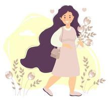 fille heureuse aux cheveux longs dans une robe rose sourit, va avec un bouquet. sur l'épaule est un sac pour femme. sur un fond avec des fleurs et des feuilles, des nuages et des coeurs. vecteur. illustration plate vecteur