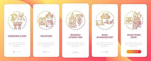 Conseils sur les liens familiaux Écran de la page de l'application mobile d'intégration avec concepts vecteur