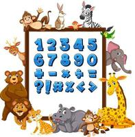 numéro 0 à 9 et symboles mathématiques sur bannière avec des animaux sauvages