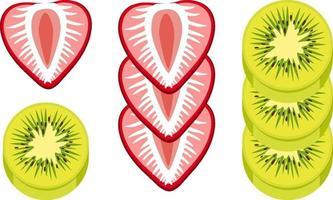 fraise et kiwi hachés isolés vecteur