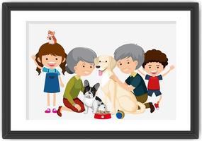 photo de famille heureuse dans un style de carton de cadre vecteur