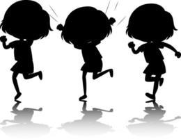 ensemble, de, gosses, silhouette, à, réflexe