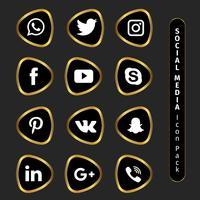 Collection élégante de médias sociaux d'or vecteur