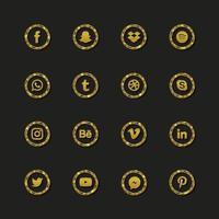 collection de logo de médias sociaux de luxe vecteur