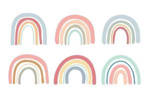 ensemble de pont arc-en-ciel de couleur pastel dessiné à la main vecteur