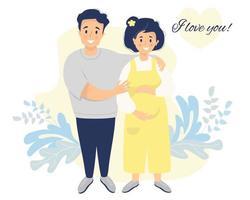 vecteur plat famille heureuse. une femme enceinte en salopette jaune caresse son ventre avec ses mains. son mari la serre dans ses bras. sur un fond décoratif avec le texte - je t'aime. illustration vectorielle plane
