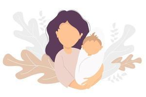 maternité. femme heureuse avec un nouveau-né dans ses bras. sur le motif décoratif de fond de feuilles et de plantes tropicales. illustration vectorielle. famille heureuse - maman et bébé heureux. illustration plate vecteur