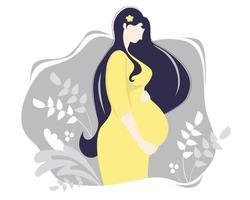 maternité. heureuse femme enceinte dans une robe jaune, serrant tendrement son ventre avec ses mains, sur fond gris avec un décor de branches et de plantes. illustration vectorielle vecteur
